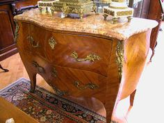 Furniture - Bernardi's Antiques - Toronto | French Marble Top Commode -  $5,500.00 | A 19th Century French, Louis XV marble top commode. Beautiful herring bone pattern design with bronze handles and mounted decoration. Wonderful colour to the marble top. France, circa 1860. Measures 49 1/2 inches wide x 20 inches deep x 36 inches high