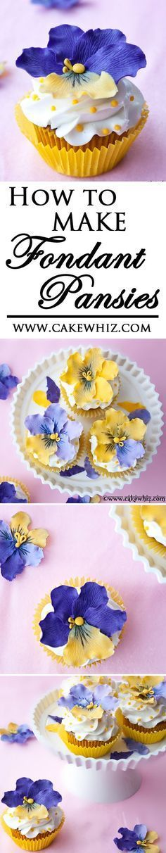 Beautiful cupcakes decorated with edible FONDANT PANSIES. Tutorial included! From http://cakewhiz.com