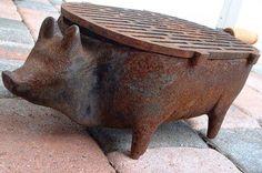 Cast iron pig grill
