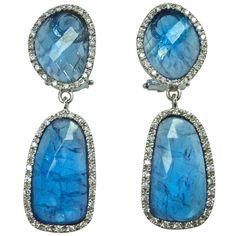 Jona Rose Cut Tanzanite Diamond Gold Drop Earrings | 1stdibs.com