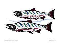 Haida Spawning Salmon by Clarence Mills