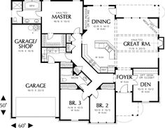 Craftsman Style House Plan - 3 Beds 2 Baths 2001 Sq/Ft Plan #48-104 Floor Plan - Main Floor Plan - Houseplans.com