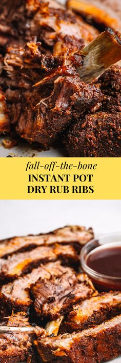 Tender Instant Pot ribs! The best and easy way to cook pork ribs in an #InstantPot or #NinjaFoodi. The pork meat is seasoned with a homemade dry rub, Memphis-style. It uses very little brown sugar! #instantpotribs #ninjafoodirecipes #ribs #porkribs #dryrrub #dryrubribs #appetizer #gameday #seasoning
