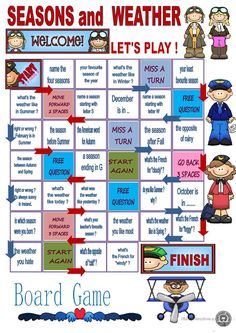seasons and weather - board game worksheet - Free ESL printable worksheets made by teachers