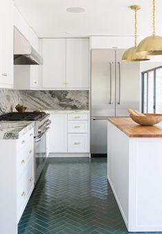 Dark Green Tile Floors Marble Backsplash White Cabinetry W Br Hardware Sarah Sherman Samuel