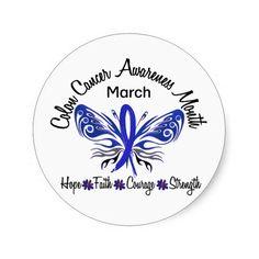 Colon Cancer Awareness | Colon Cancer Awareness Month Butterfly 3.2 Round Sticker