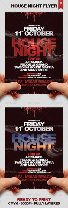 House Night Flyer #GraphicRiver This flyer design can be used for any kind of party or any nightclub event. I designed this as an 'House Night' event but it actually fits for any kind of party. You are able to play with the colors, text and elements to get unique results to suit your taste. Format is DIN-A5 with 0,25 inch bleed on all sides. (Print size: 5.83×8.27 inches) *Arial Black font used. It is a system standard fonts. No download needed. PURCHASE INCLUDES: • 1 Fully layered PSD File…