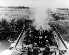 105mm Howitzer mounted on a barge