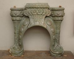 Antique ceramic Art Nouveau style fireplace made by Charles Gréber