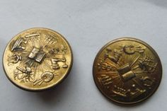 2 ANTIQUE BRASS BUTTONS, FRATERNAL?  BIBLE & OCCUPATIONS, SCOVILL MFG. CO