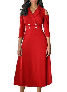 Ouregrace Women s Vintage Long Sleeve Wrap V Neck Buttons A Line Skater  Midi Dress 68a2fb6b6