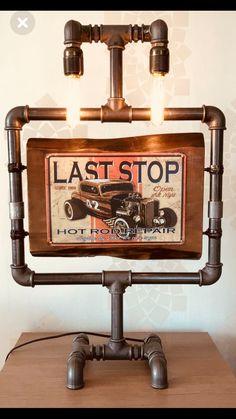 Endless Road Pipe Lamp made by Naim Arslan Lampe Tube, Pipe Lighting, Wall Lighting, Diy Pipe, Black Pipe, Steampunk Lamp, Iron Pipe, Pipe Furniture, Pipe Lamp