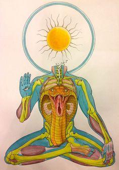 Body horror beauty- art and comics by Kate Lacour Arte Chakra, Chakra Art, Meditation Art, Yoga Art, Art Visionnaire, Tantra Art, Esoteric Art, Psy Art, Hippie Art