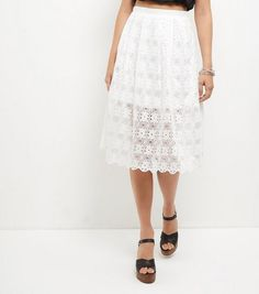 White Lace Balloon Midi Skirt  | New Look