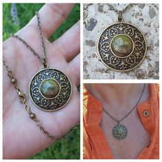 Tribal Shield - Bronze Cameo Setting with Unakite Cabochon Chain Necklace - Connections, Growth and Balance by Angelof2, $20.00