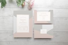 Modern pink and grey wedding invitation suite. So elegant and contemporary!
