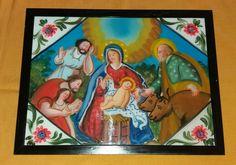 Pittura su Vetro Adorazione dei Pastori (repro) cm 40x30