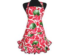 Watermelon Apron for Women  Adjustable with Pocket by ElsiesFlat, $38.00