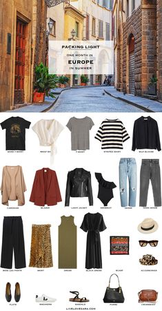 Are you going to Europe for 4 weeks this summer and don't know what to pack? The average length for most North Americans taking a European vacation is days. This european packing list is for a one month trip in summer. Europe Travel Outfits, Travel Outfit Summer, Travel Wardrobe, Vacation Outfits, Capsule Wardrobe, Europe Fashion, Summer Travel Fashion, Travel Europe, Spain Fashion