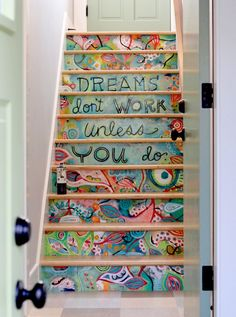 Stair art hand painted on MDF and then installed. Much easier (and less permanent) than painting directly on the stair risers! By Michelle Allen this would be awesome on a staircase leading to my craft room! Tiny Homes, New Homes, Stair Art, Diy Stair, Painted Stairs, Wooden Stairs, Painted Staircases, Painted Floors, Stairway To Heaven