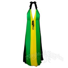 #Jamaican Long Halter Dress with Tie #RastaEmpire