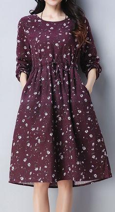 New Women loose fit retro flower purple dress pocket skirt fashion casual chic #unbranded #FitnessFashion #womensfashionretroskirts