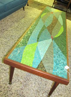 Super cool 1960's colorful mosaic coffee table but probably wouldn't stand up outside