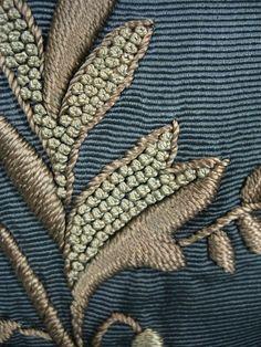 Embroidered Trained Skirt, part of an ensemble, Date: ca. 1880-1900, Color: Cornflower Blue Medium: Silk Faille