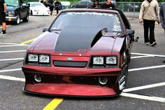 """Luvin this Four Eyed Beauty. Awesome color choice & gotta love those twin """"Air Compressors"""" hanging low off the front end! Fox Body Mustang, Mustang Cobra, Ford Mustang Gt, Ford Maverick, Four Eyes, Pony Car, Drag Cars, Car Ford, My Dream Car"""