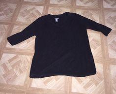 Ladies Sz MP Sz Medium Covington Petites Black Knit 3 4 Sleeve Sweater Knit Top | eBay