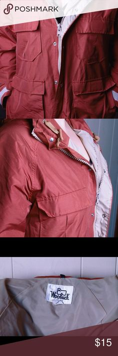Woolrich Rain Slicker Vintage Woolrich rain jacket/slicker. Made in the USA. Great piece that does not show its age at all. Lots of pockets. Zipper and snaps. Works for men or women. Size is Medium. Woolrich Jackets  Coats Raincoats