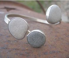 Silver bangle with pebbles.. $168.00, via Etsy.