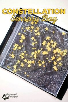 Our Preschool Study of the Stars continues with constellation-inspired sensory play. The Constellation Sensory Bag is a great way to provide hands on learning about the night sky, perfect for toddlers and preschoolers. A great fine motor skill challenge, you can also up the skill level by using our glow in the dark constellation cards to make it a puzzle, mapping stars to the constellations. You can make one of your very for less than $5 with all supplies from the Dollar Store. | STEM…