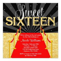 Red Carpet Gold Glam Hollywood Sweet 16 Birthday 5.25x5.25 Square Paper Invitation Card
