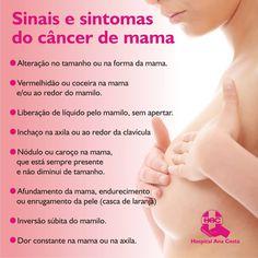 Fique alerta aos sinais e sintomas do câncer de mama. E não esqueça, os sintomas surgem apenas em uma fase avançada da doença. Por isso, a principal forma de prevenção continua sendo a mamografia. Não deixe de fazer o seu exame.  #HAC #HospitalAnaCosta #Saúde #Câncer #CâncerdeMaMa #Woman #Mulheres #Saúde #BemEstar