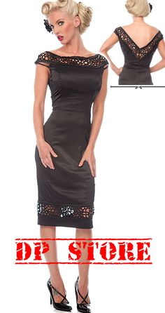 VOODOO VIXEN WIGGLE LACE DRESS 50'S EMO PENCIL PIN UP ROCKABILLY GOTHIC SEXY