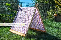 A-Frame Play Tent for Kids with Pink and Orange Chevron Cover by Momista Beginnings // Momista & Pop Shop on Etsy