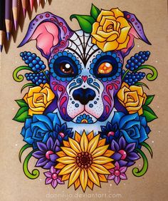 "1,842 Likes, 28 Comments - Danielle J. Washington (@dannii.jo) on Instagram: ""Finished this pup for @evie138 last night!  #drawing #coloredpencil #prismacolor #sugarskull"""