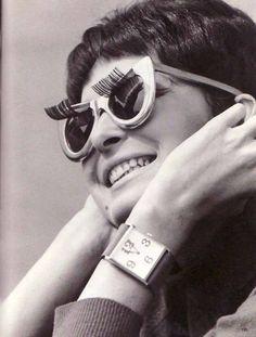 Sunglasses with eyelashes.