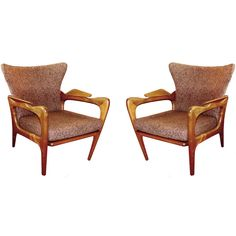Very stylish 50's walnut wood armchairs designed by Adrian Pearsall for Craft Associates. Slanted legs and armrests for maximum comfort. Shaped back rest and removable cushion. Charming brown fabric. Bibliography Craft catalogue click here  Price  $4,900