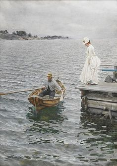by Anders Zorn - I can just picture this woman falling into the water instead of ending up in the boat. lol!