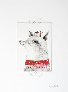 fox postcard illustrated by missmalagata