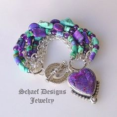 Loving the colors--Schaef Designs Purple Turquoise & Sterling Silver 7 Strand bracelet with purple heart charm Beaded Jewelry, Unique Jewelry, Jewelry Bracelets, Silver Jewelry, Handmade Jewelry, Jewelry Design, Bangles, Necklaces, Look Hippie Chic
