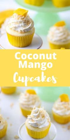 These mango coconut cupcakes are bursting with sweet tropical flavors in every bite and are perfect for your sweet tooth!! #aclassictwist #cupcakerecipes #mangococonutcupcakes #summerdesserts