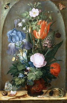 Roelant Savery - Flower Still Life with Two Lizards