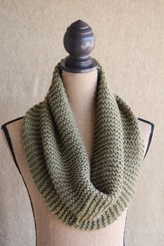 SAGE Green SNOOD Scarf..Infinity Scarf...Hand Knitted...Soft yarn...Cowl.. on Etsy, $25.00