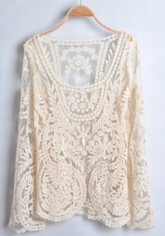 Light Apricot Lace Embroidery Long Sleeve Cotton T-Shirt.Macrame cotton and lace tops, vests, shrugs, jackets, camisoles. Style Outfits, Mode Outfits, Pretty Outfits, Beautiful Outfits, Mode Style, Style Me, Vetements Clothing, Look Fashion, Womens Fashion
