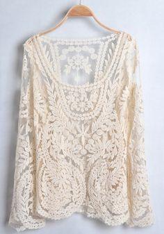 Lace long sleeve blouse.