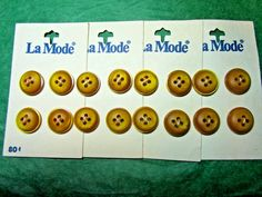 """(16) 5/8"""" LaMODE BROWN GOLD PLASTIC 4-HOLE BUTTONS 4-CARD LOT(N912)"""