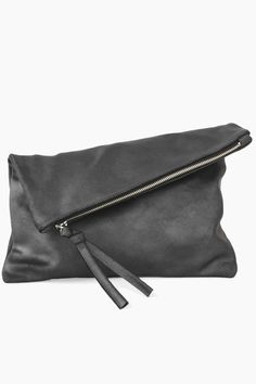 Oversized Leather Fold Clutch in the most amazing gunmetal tone. www.mooreaseal.com